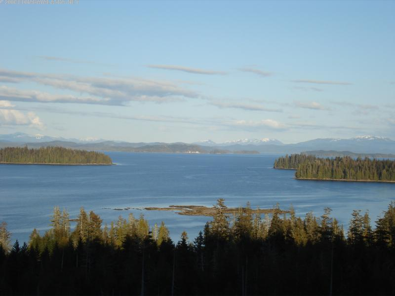 A great view of Edna Bay from a mountain top.
